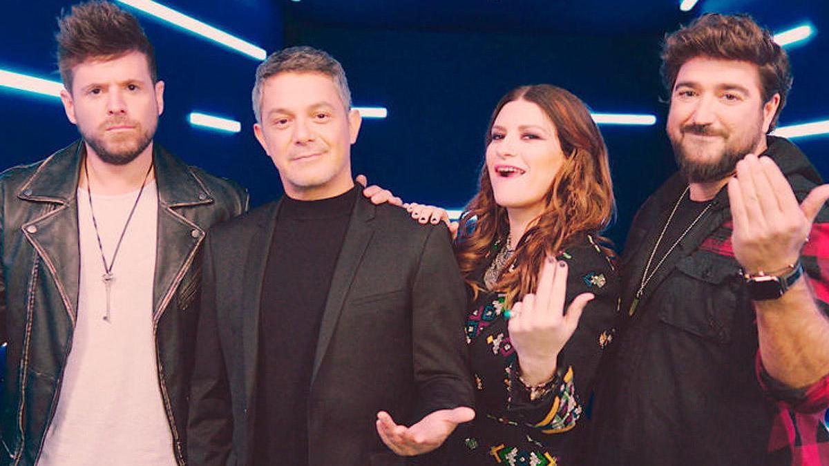 Pablo López, Alejandro Sanz, Laura Pausini y Antonio Orozco.