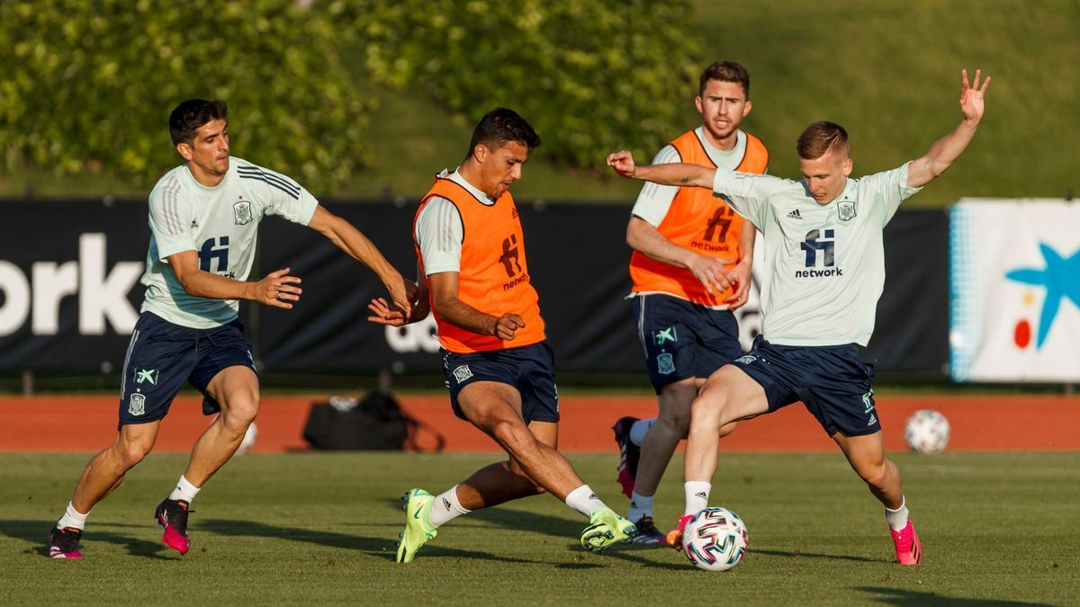 The players of the Spanish National Team during a training session in Las Rozas