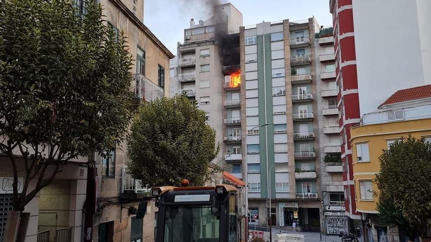 Alerta en el centro de Vigo por un incendio en una vivienda de Ronda de Don Bosco