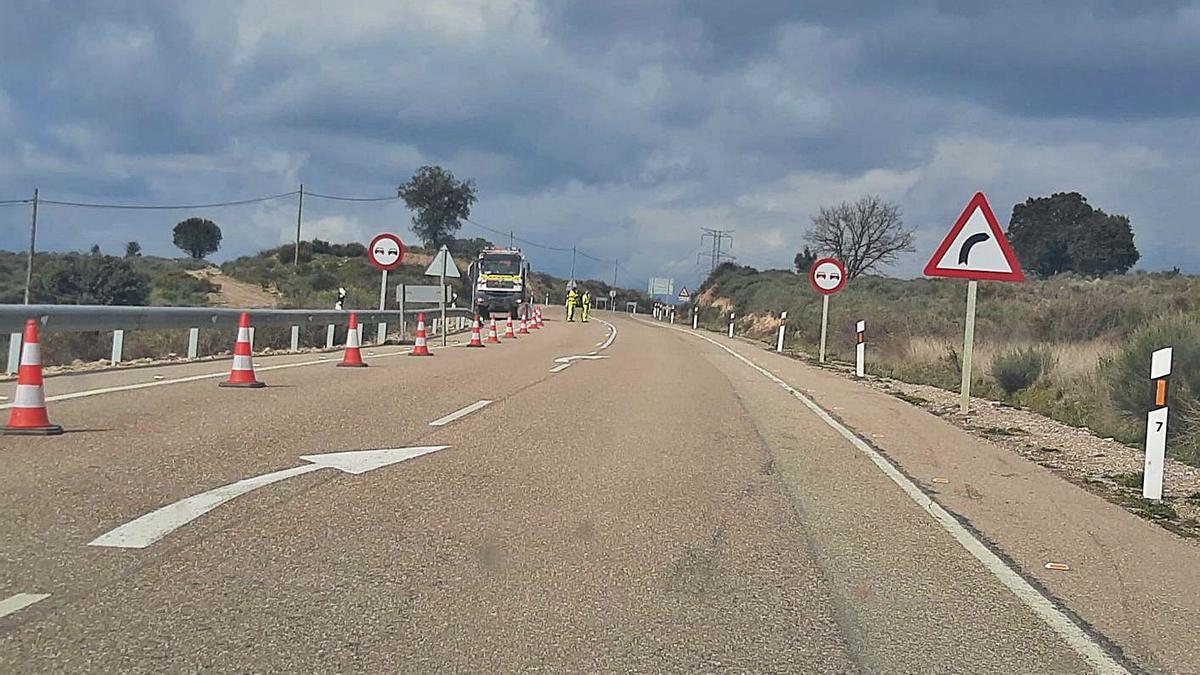 Trabajos de limpieza de las márgenes de la carretera N-631.