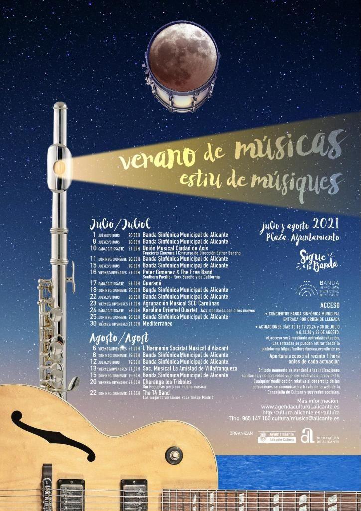 Cartel de 'Verano de Músicas' en la Plaza del Ayuntamiento de Alicante