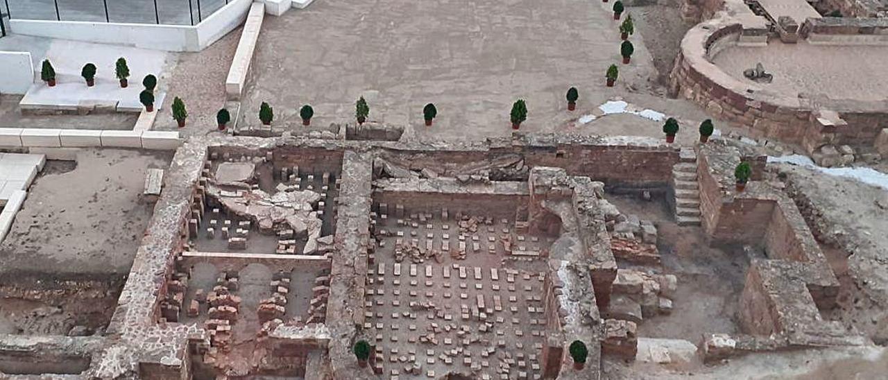 Vista aérea de las Termas de Mura en Llíria.