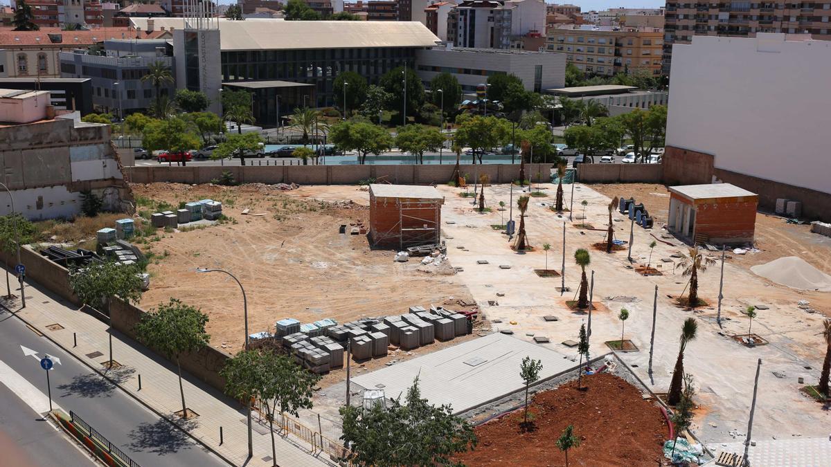 Imagen aérea de la nueva zona de esparcimiento en el distrito centro de Castelló.