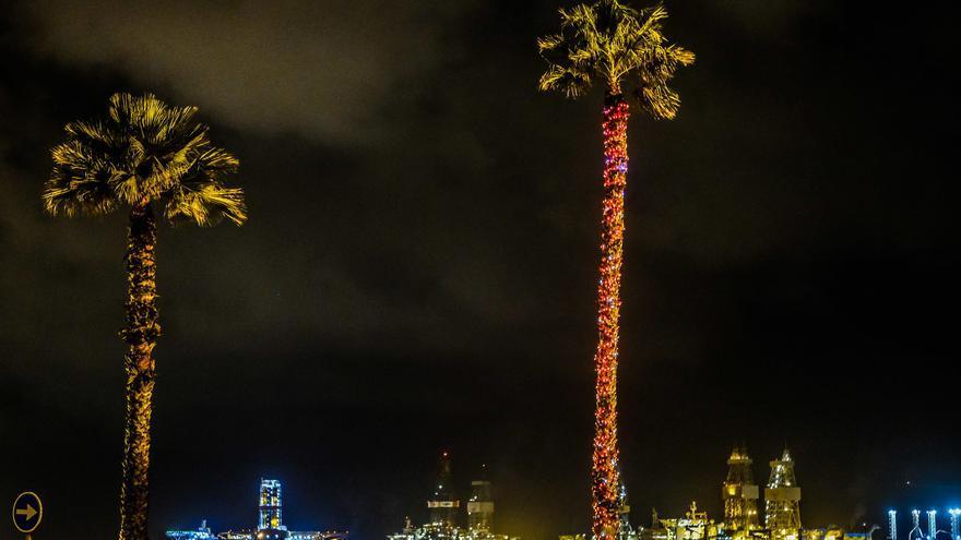 Las palmeras de la Avenida Marítima comienzan a engalanarse para Navidad