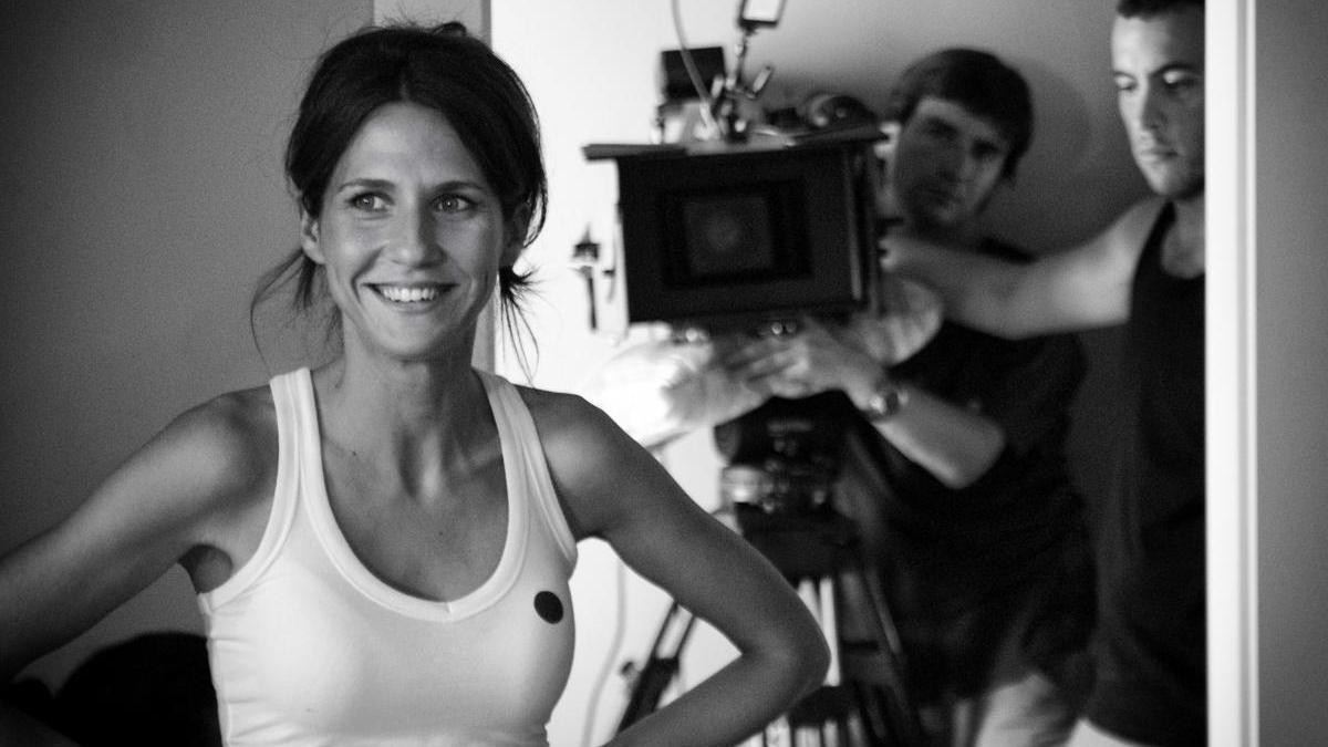 Manuela Burló, durante el rodaje de uno de sus cortos