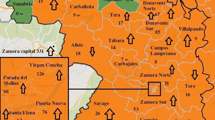 Mapa COVID de Zamora: la capital supera los 300 contagios semanales