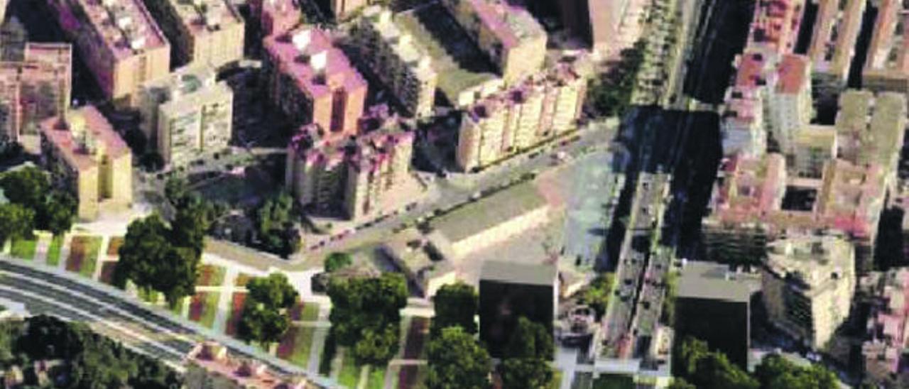 Imagen virtual de la rotonda y paso inferior que sustituirán al Puente Rojo.