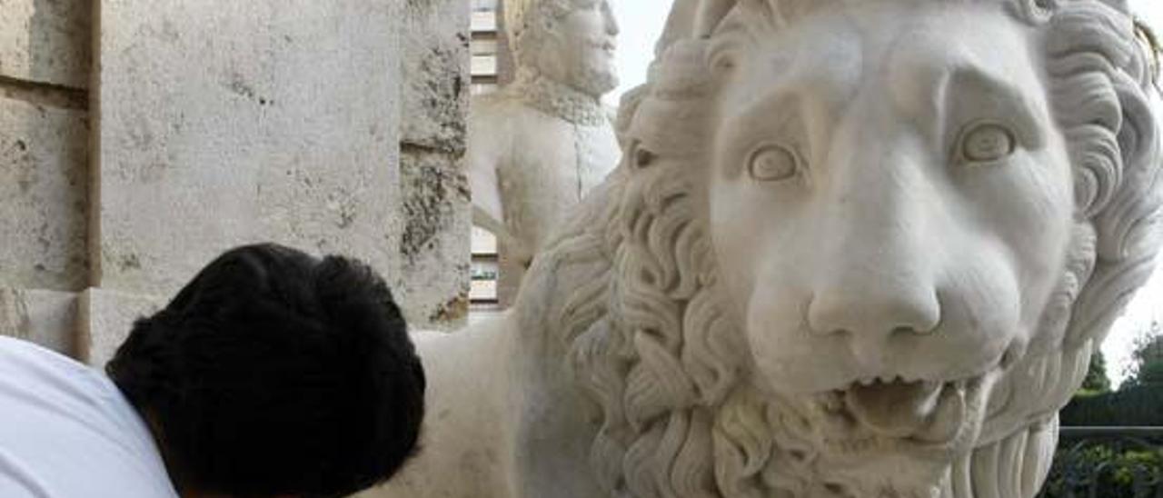 Uno de los leones de Monforte.