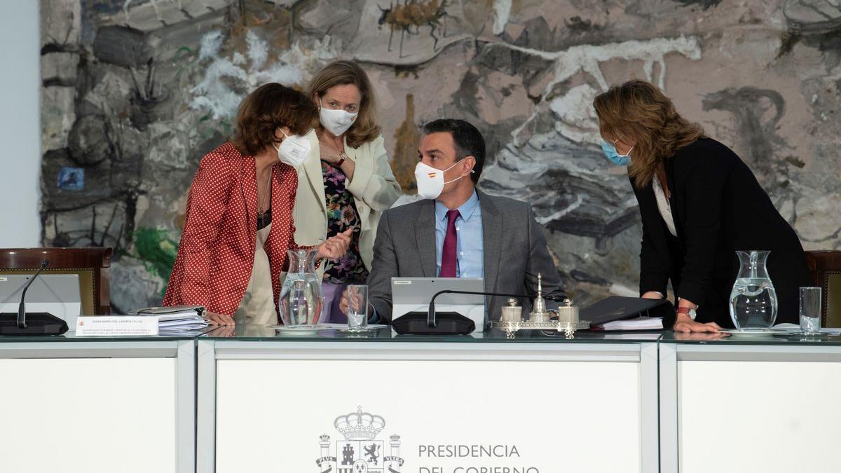 Pedro Sánchez, durante el Consejo de Ministros que ha aprobado los indultos del procés.