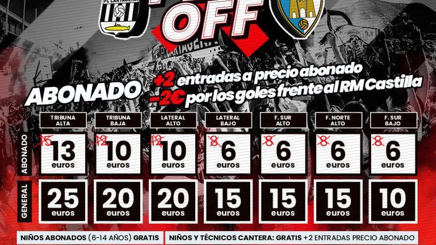 Los abonados del FC Cartagena tendrán que pagar entre 6 y 13 euros para el partido ante la Ponfe