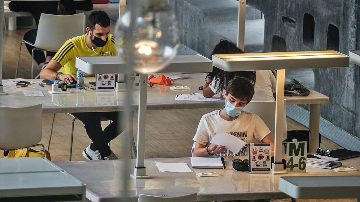Varios estudiantes, ayer, en la biblioteca de TEA.     ANDRÉS GUTIÉRREZ