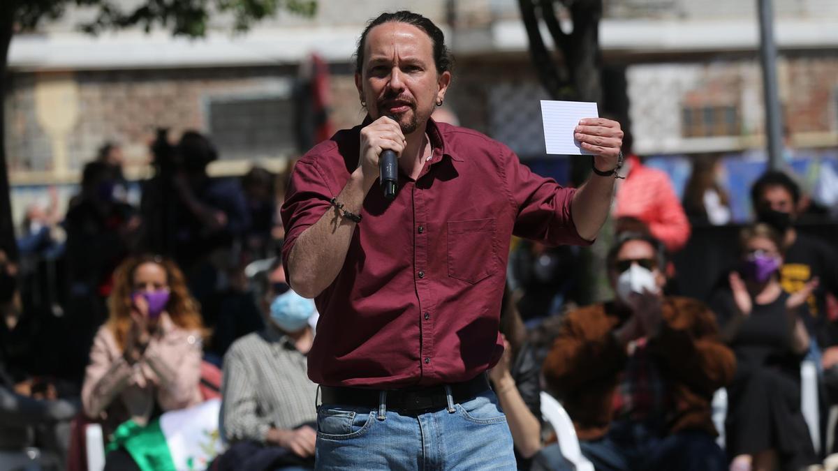El candidato de Unidas Podemos a la Presidencia de la Comunidad de Madrid, Pablo Iglesias