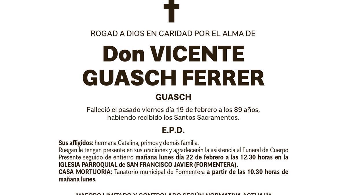 Esquela Vicente Guasch Ferrer