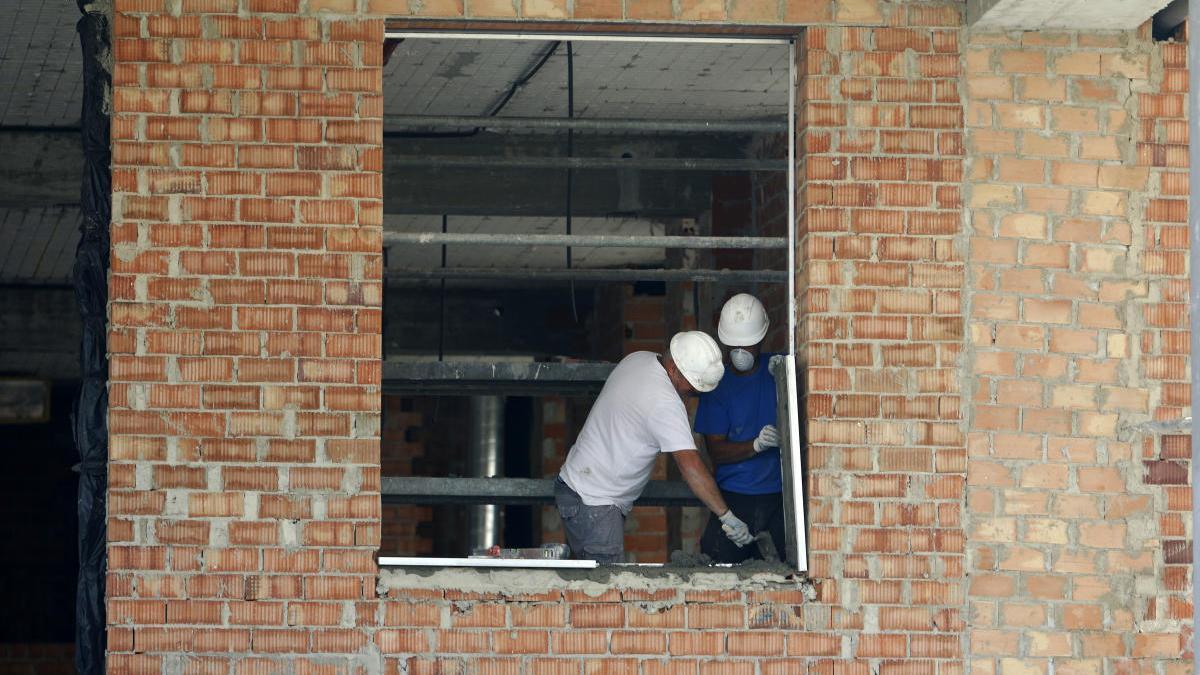 Trabajadores de la construcción en Málaga.