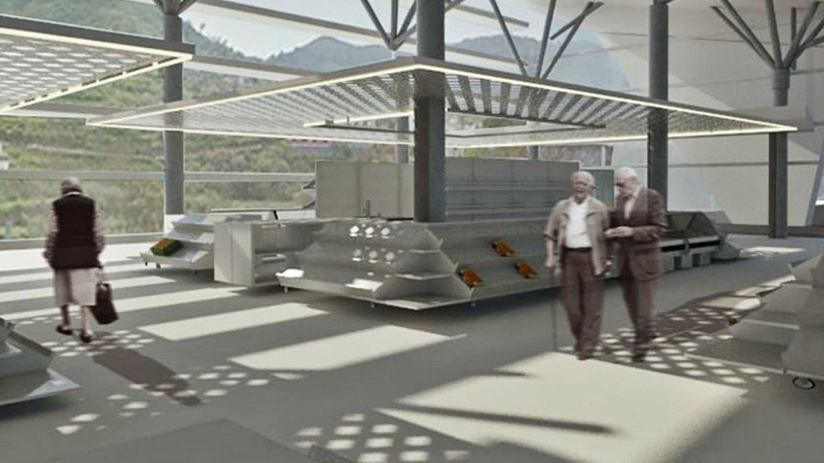 Boceto de cómo quedará el interior del nuevo edificio del mercado de San Mateo, que estará acristalado.     LP/DLP