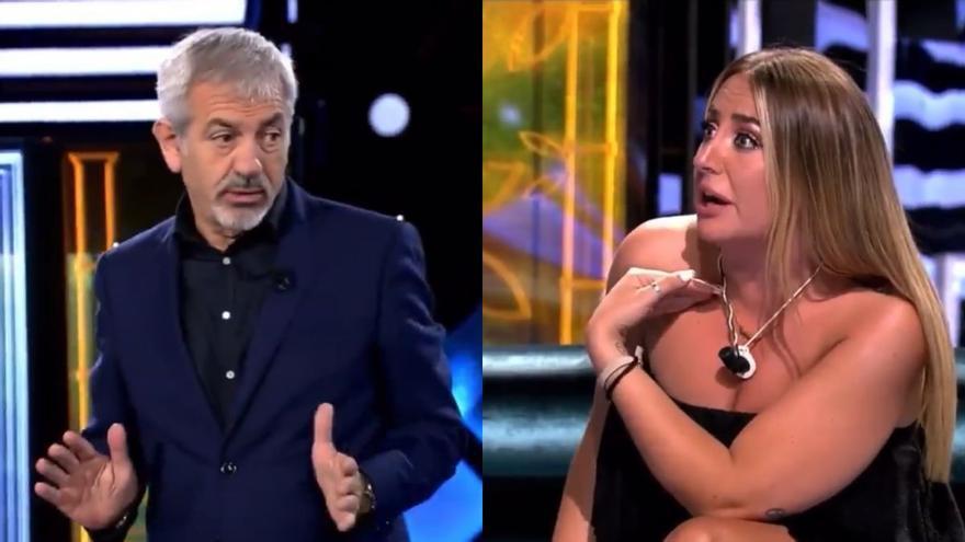 """Carlos Sobera para los pies a Rocío Flores tras su monumental enfado: """"En este programa se esperan opiniones"""""""