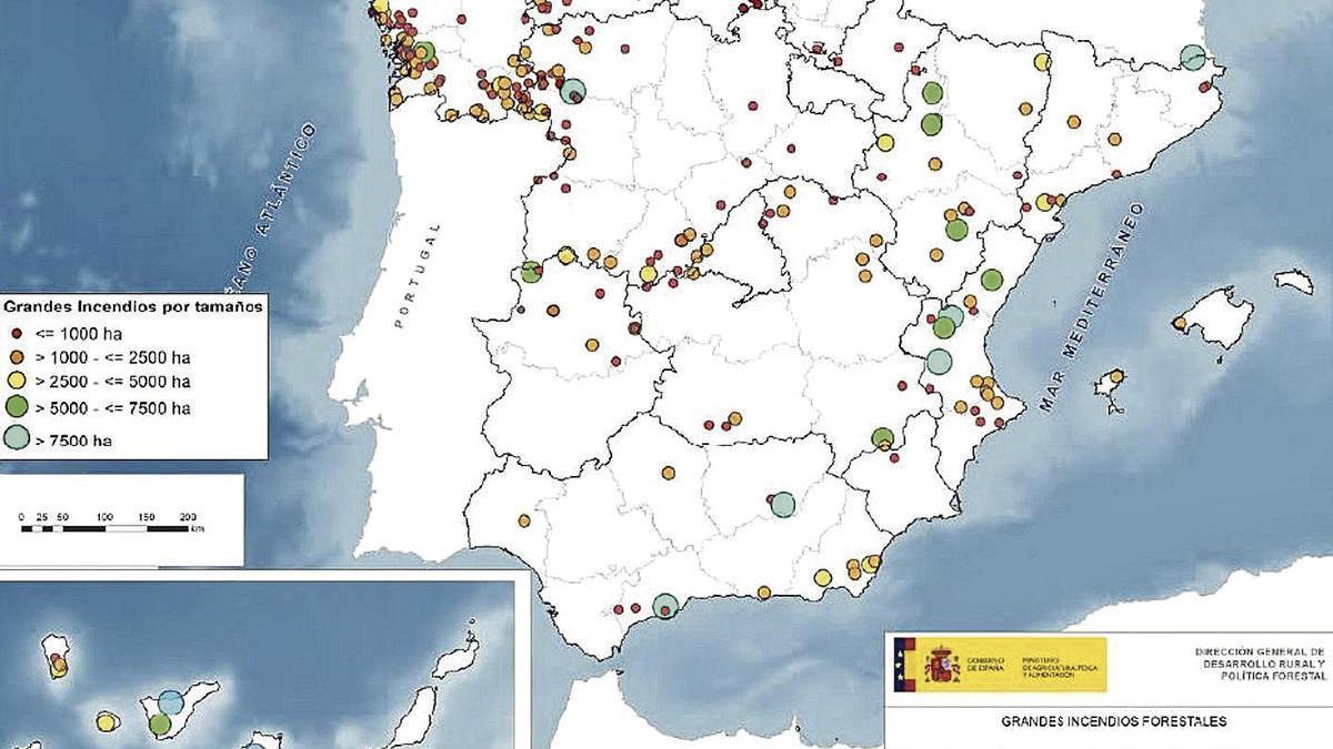 Cada punto de la gráfica representa un gran incendio forestal (más de 500 hectáreas).