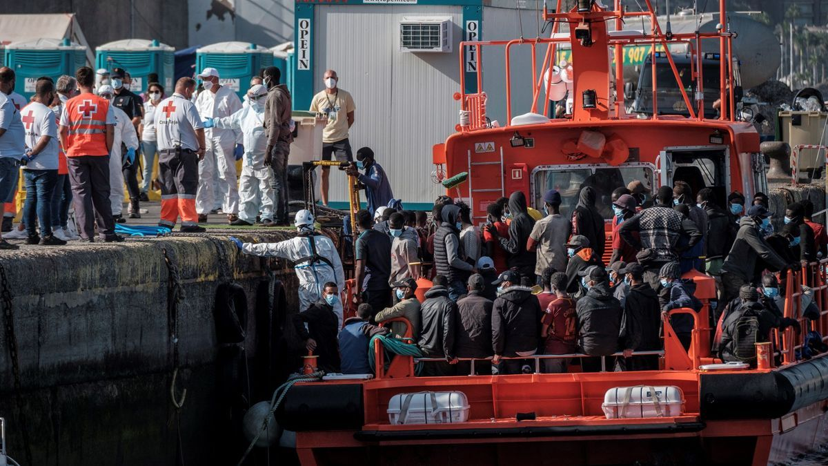 Llegada de migrantes a Arguineguín, en una imagen de archivo