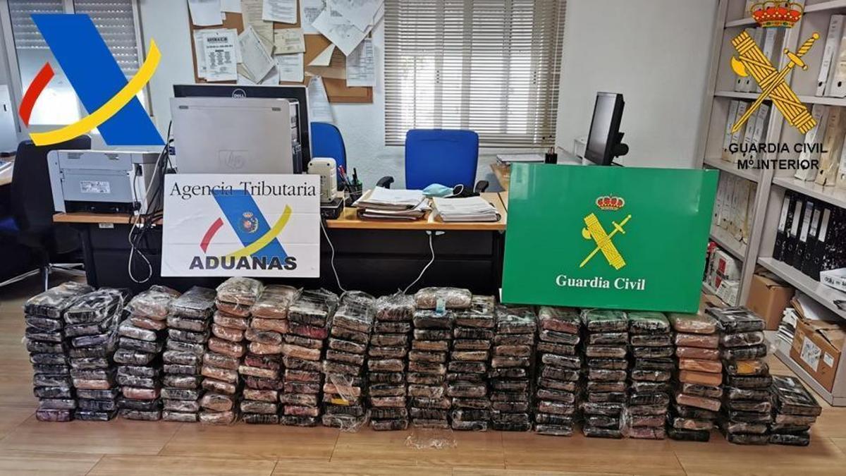 Los 175 kilos de cocaína intervenidos en el Puerto de València