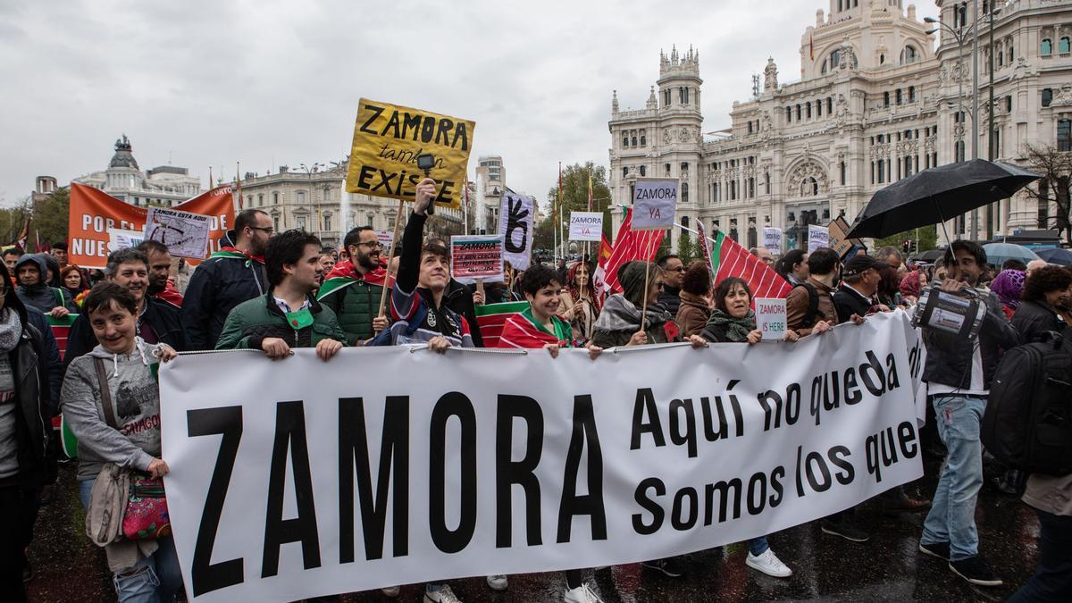 Representación de Zamora en la manifestación de Madrid de la Revuelta de la España Vaciada, hace dos años