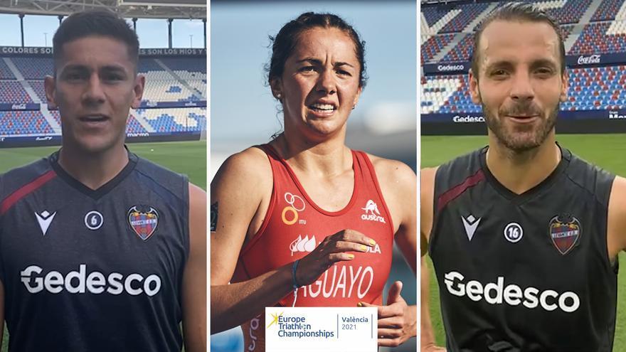 El Levante se suma al Campeonato de Europa de Triatlón València 2021 con los mensajes de apoyo de Soldado y Duarte