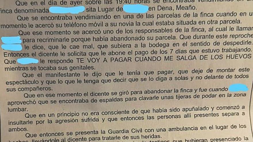 Un vendimiador denuncia a un bodeguero por una supuesta agresión con una tijera