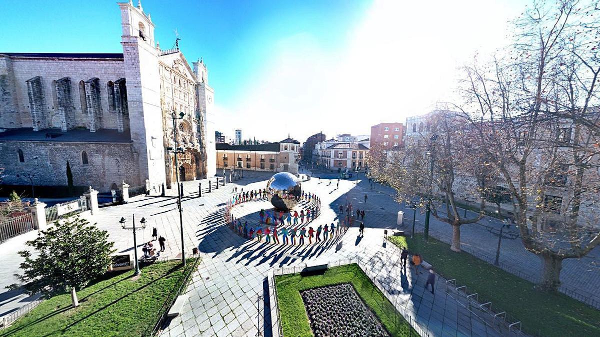 Imagen de la visita virtual a la obra de Gabarrón en la plaza de San Pablo, en Valladolid.