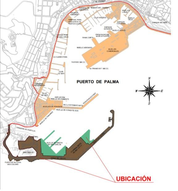 Redistribución del puerto de Palma aprobada en 2018 por el consejo de administración de la Autoridad Portuaria de Balears en 2018.