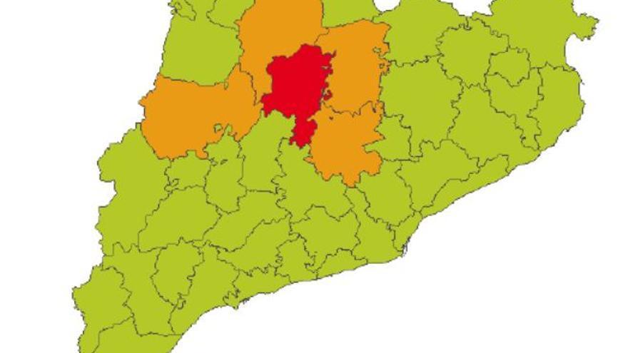 Les comarques del Bages, Berguedà i Solsonès, en alerta per xàfecs intensos