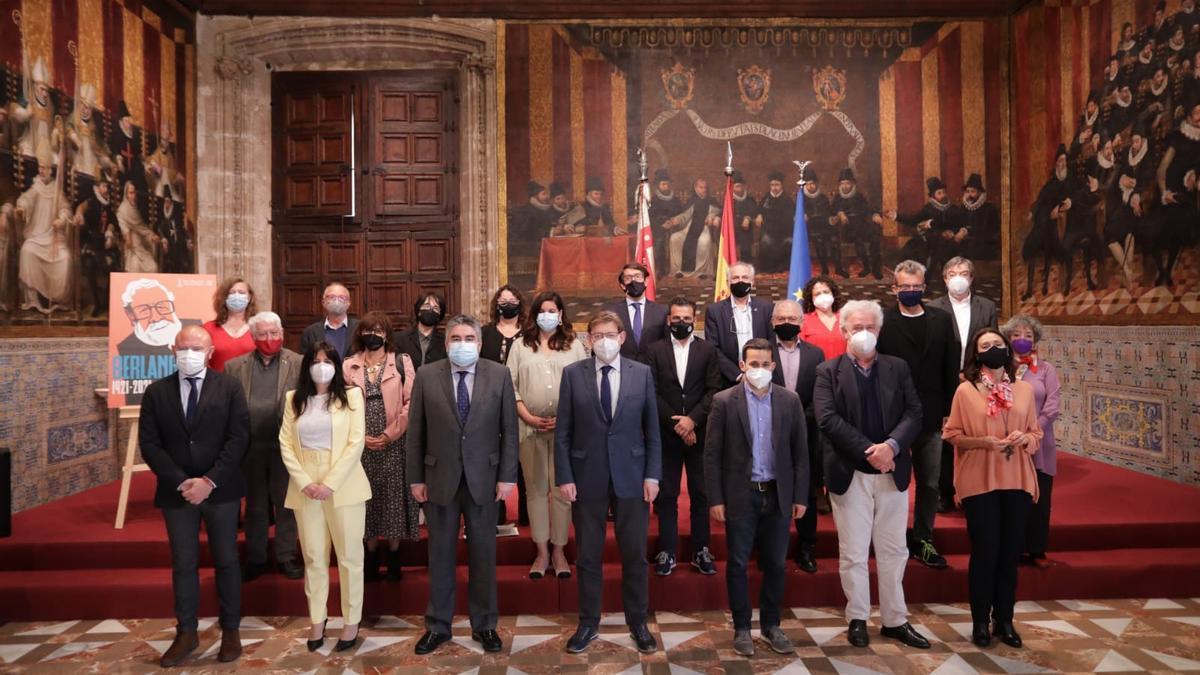 La comisión del Año Berlanga, esta mañana, en el Palau de la Generalitat.