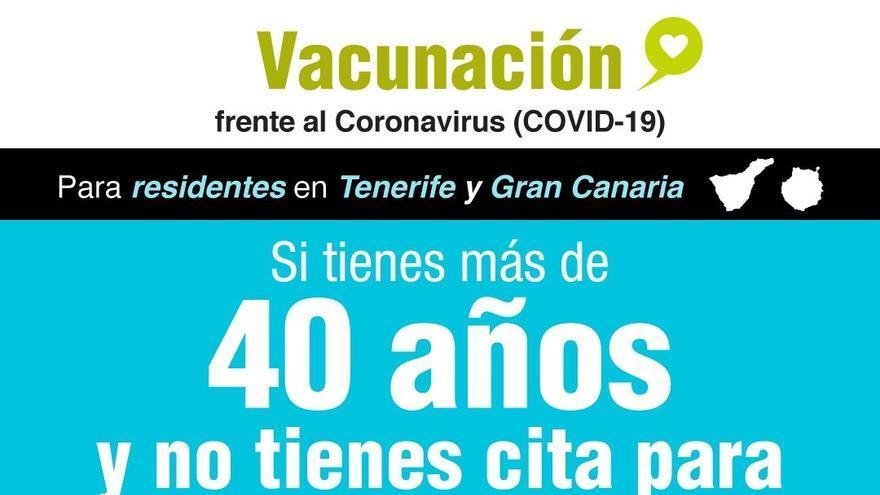 Sanidad habilita el 012 para mayores de 40 años de Gran Canaria y Tenerife que aún no se hayan vacunado