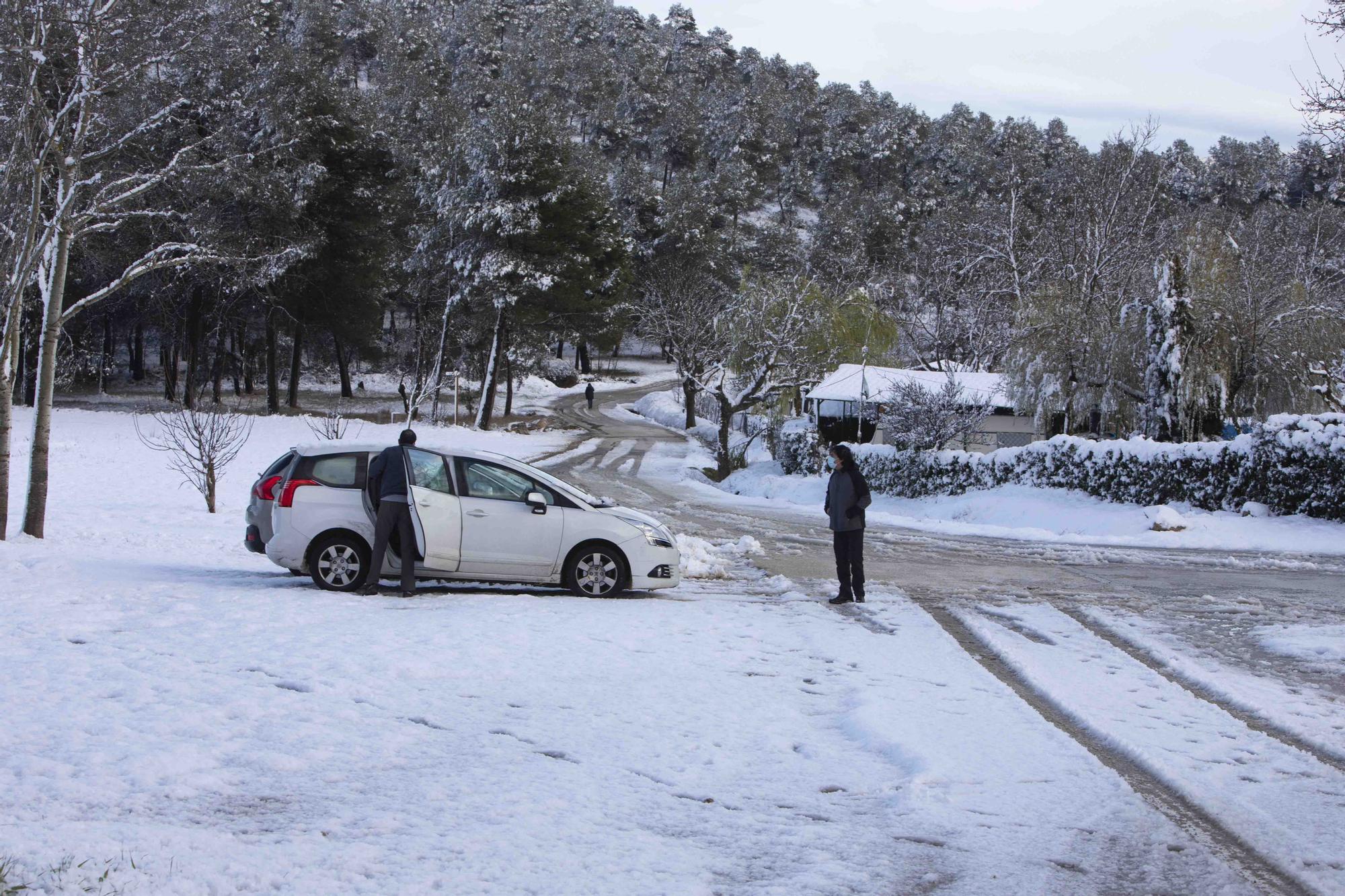 Espectacular nevada en la víspera de Sant Josep en Bocairent