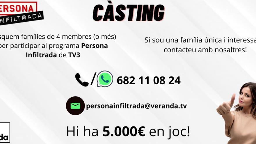 TV3 busca famílies de Berga que vulguin competir per un premi de 5.000 euros al «Persona Infiltrada»