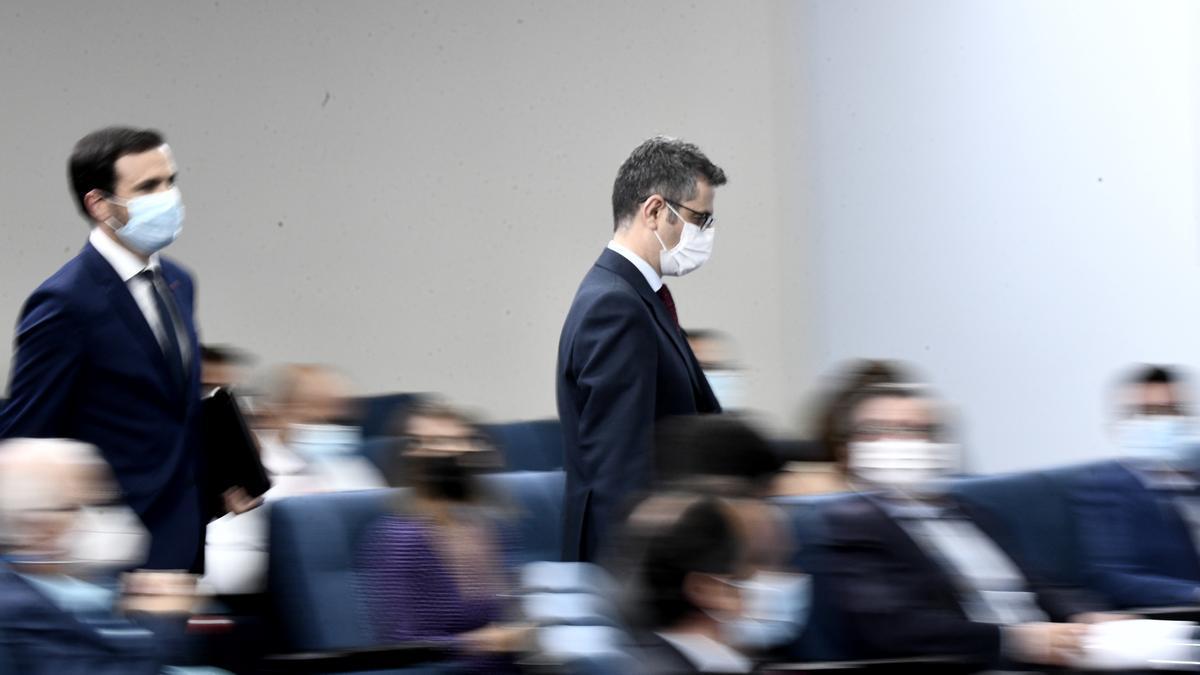Félix Bolaños a su llegada a la rueda de prensa del Consejo de Ministros.