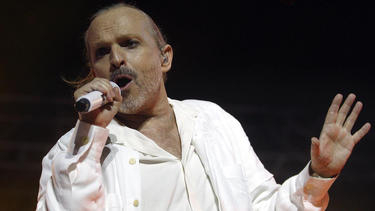 Miguel Bosé durante un concierto en València en 2015.