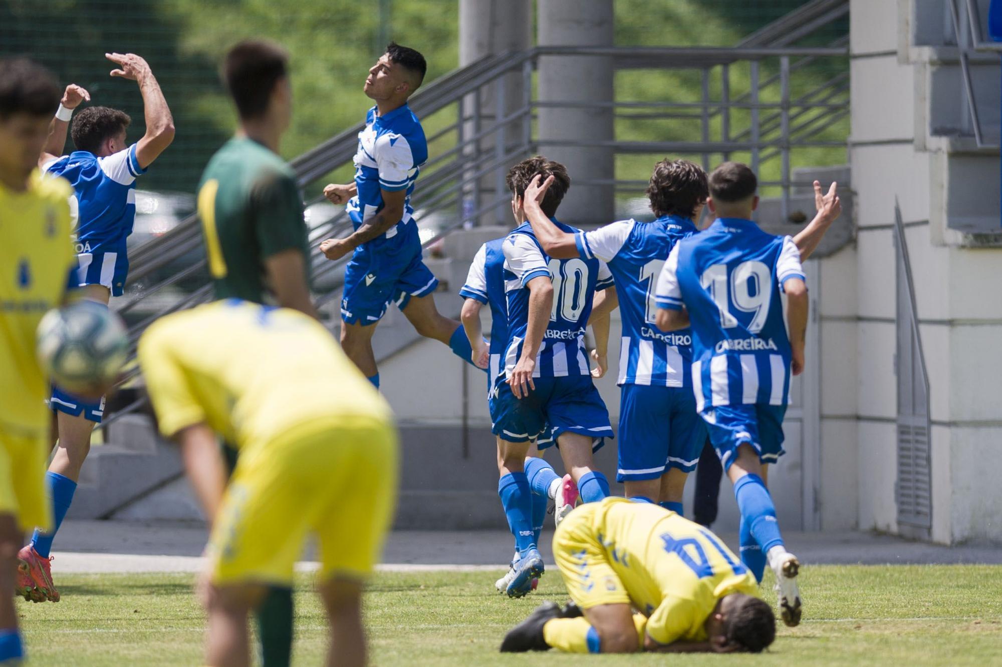 El Dépor juvenil le gana 2-1 al Las Palmas en la ida de los cuartos de final de la Copa de Campeones