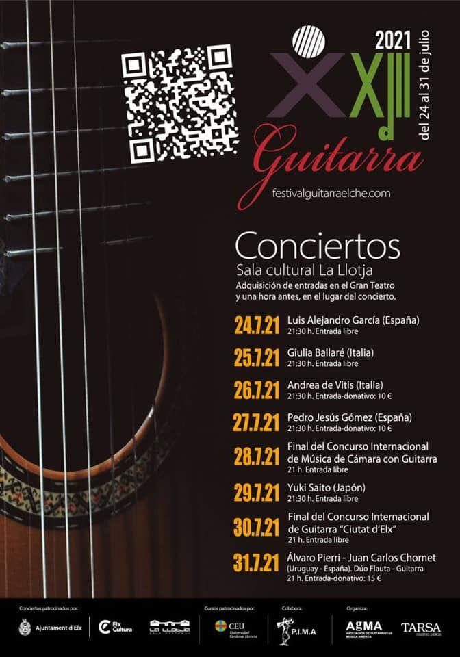Cartel XXIII edición del Festival de guitarra 'Ciutat d'Elx',