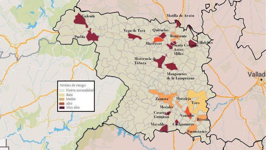 Mapa de coronavirus de Zamora, hoy, lunes | La incidencia supera el millar de casos en Puebla