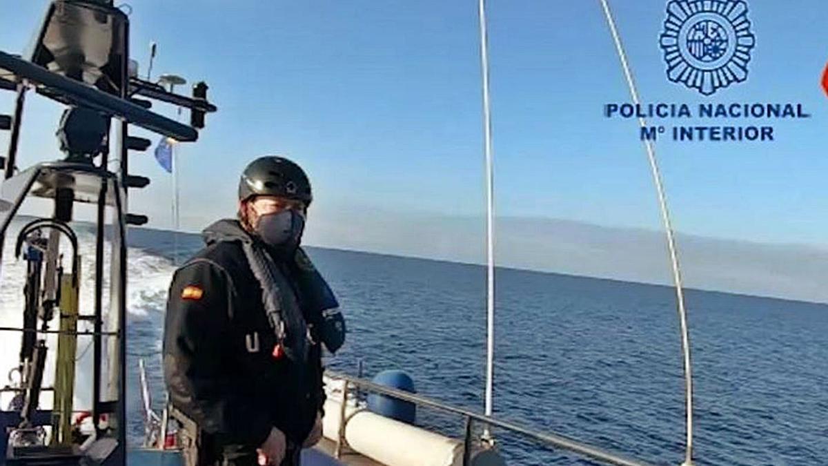 La narcolancha intervenida en las costas de Murcia.