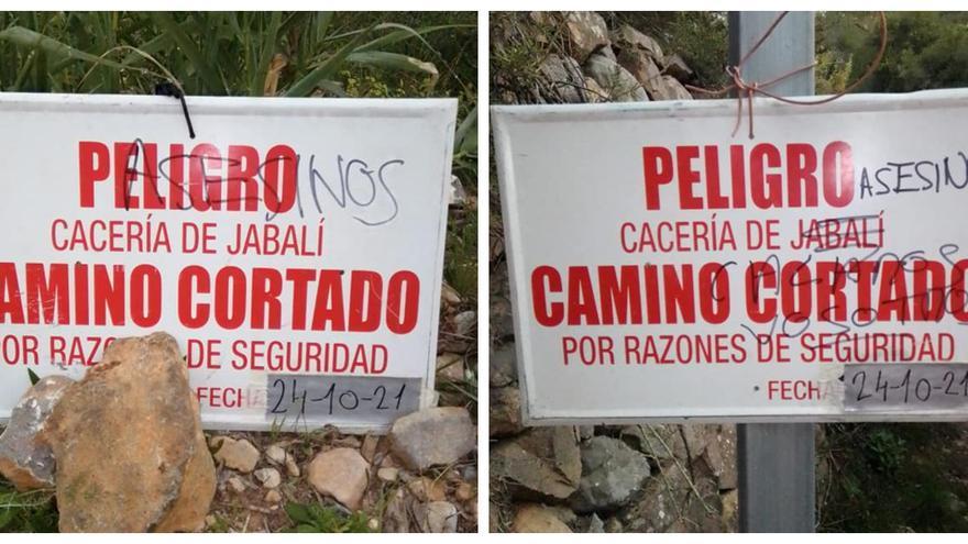 """Aparecen pintadas en Borriol que llaman """"asesinos"""" a los cazadores"""