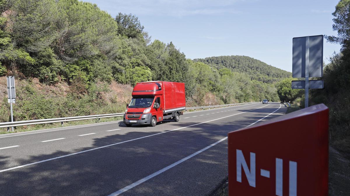 El punt de la variant de Girona on s'ha produït l'accident mortal de la nit.
