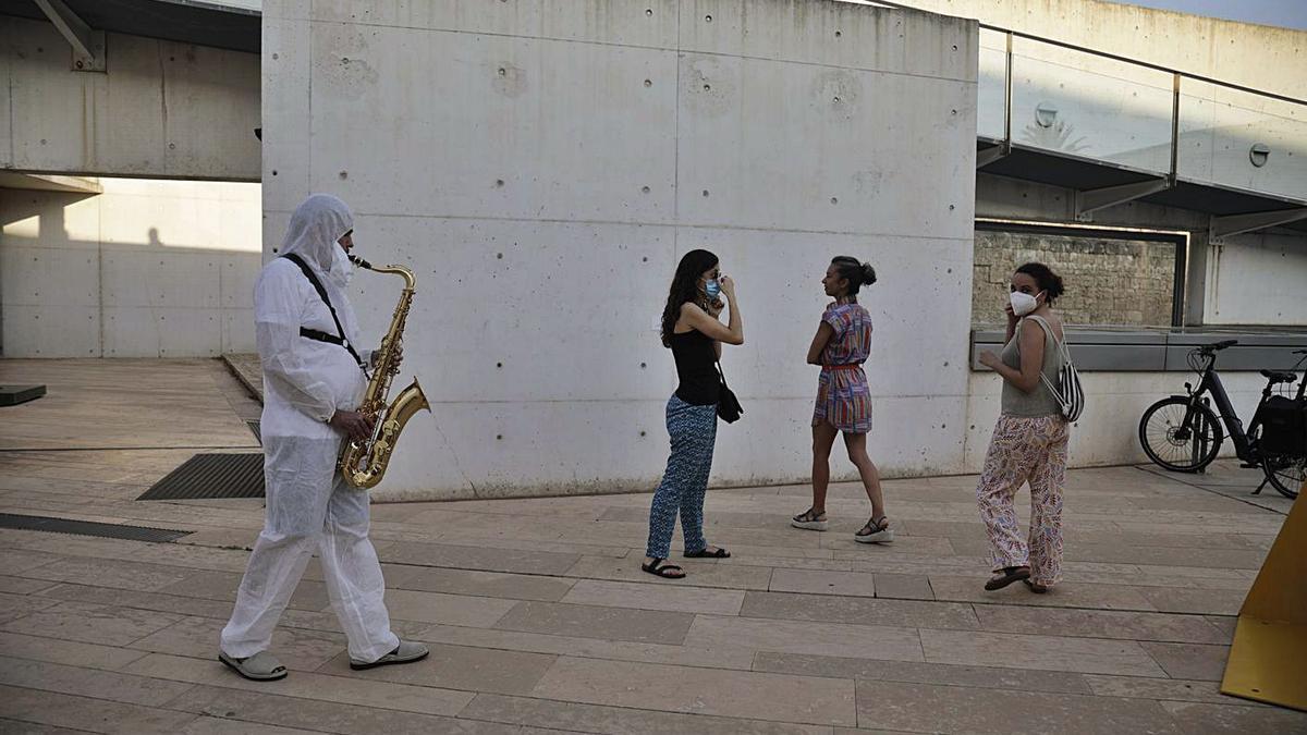 Un momento del concierto-performance, ayer, en Es Baluard Museu.