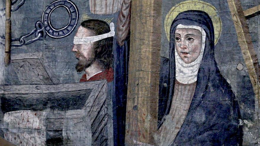 La parroquia de Sant Nicolau de Palma exhibe sus restaurados estandartes de la Pasión