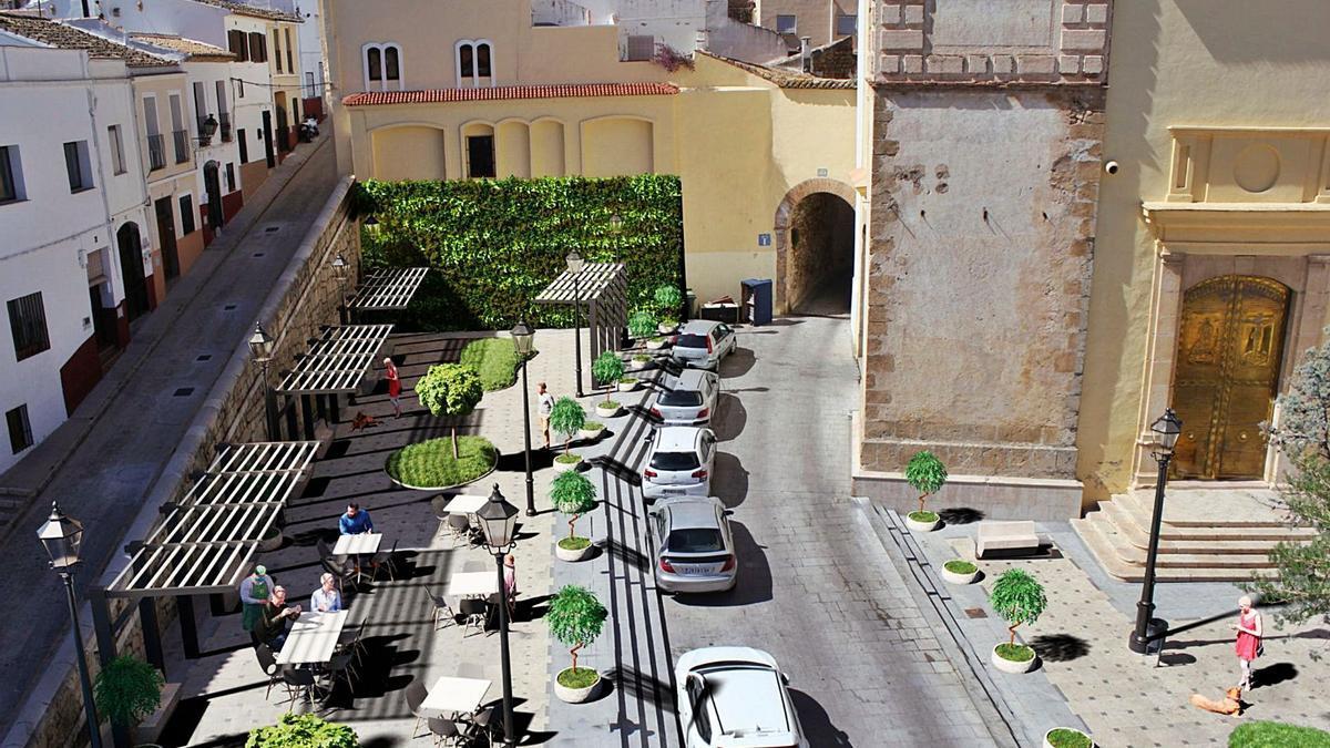 Una de las imágenes de la futura  plaza de Sant Roc de Oliva. levante-emv