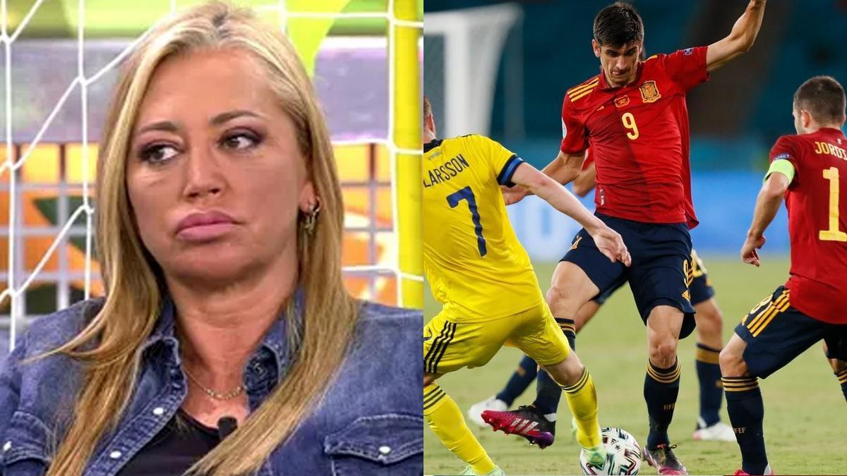 Belén Esteban en 'Sálvame' y Gerard Moreno en el partido ante Polonia