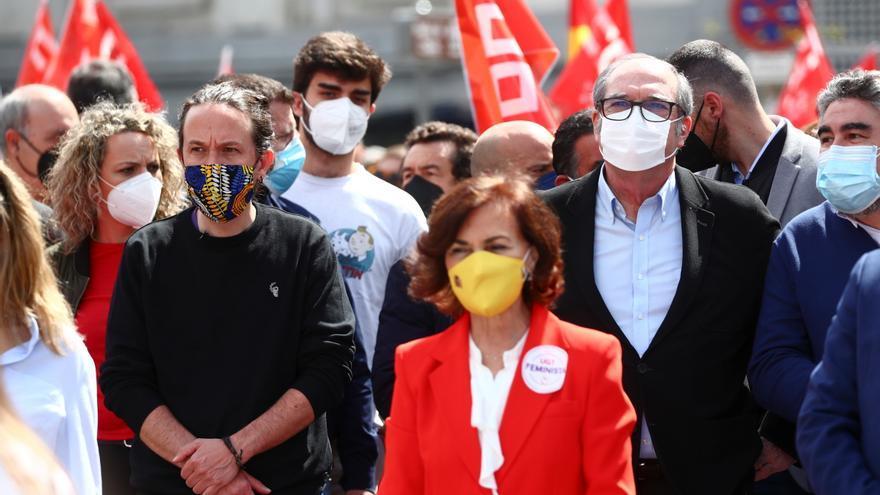 Los tres líderes de las fuerzas progresistas en Madrid se manifiestan unidos por el Primero de Mayo