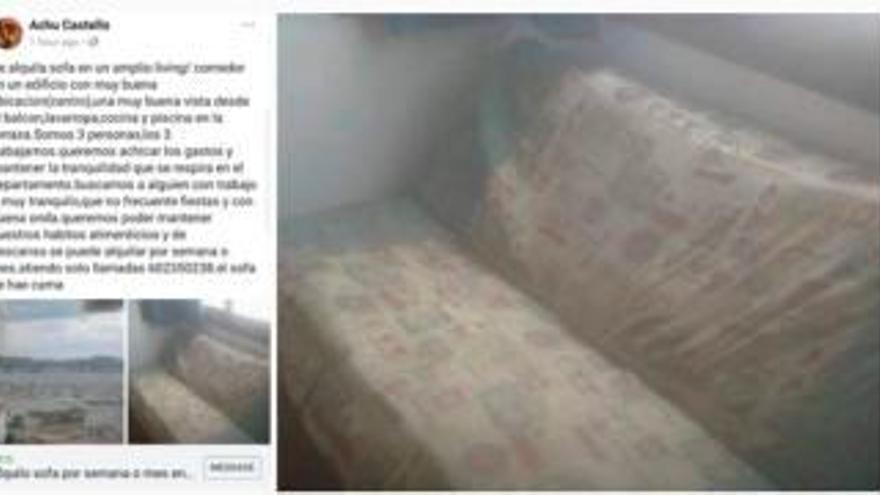 Se alquila sofá para vivir en Ibiza por 375 euros al mes