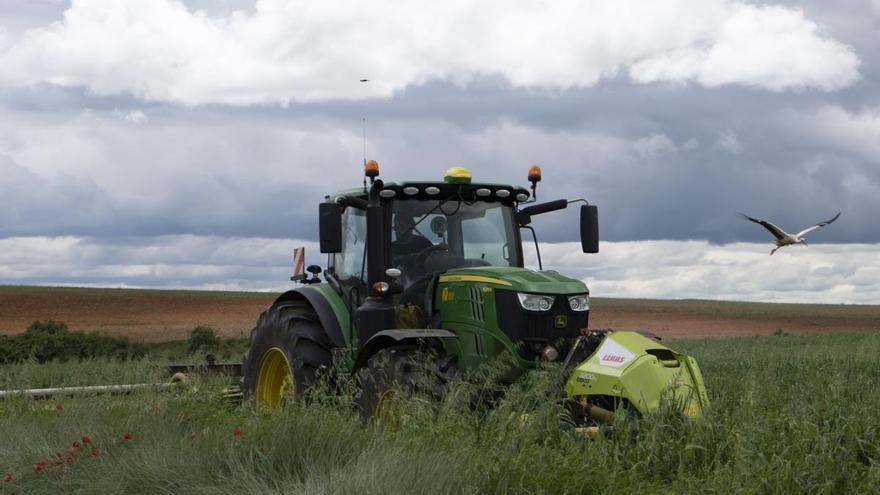 Un agricultor con su tractor en una imagen de archivo.