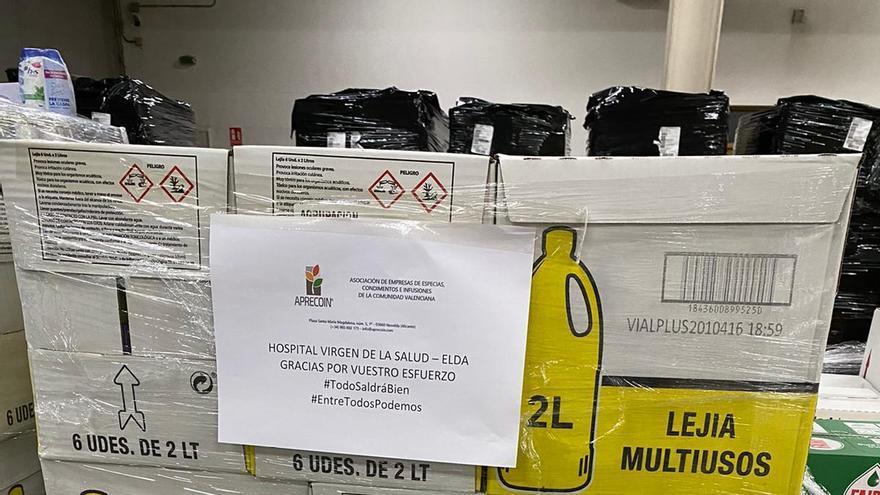 Aprecoin y Bateig Piedra Natural donan once palet de lejía al Hospital de Elda
