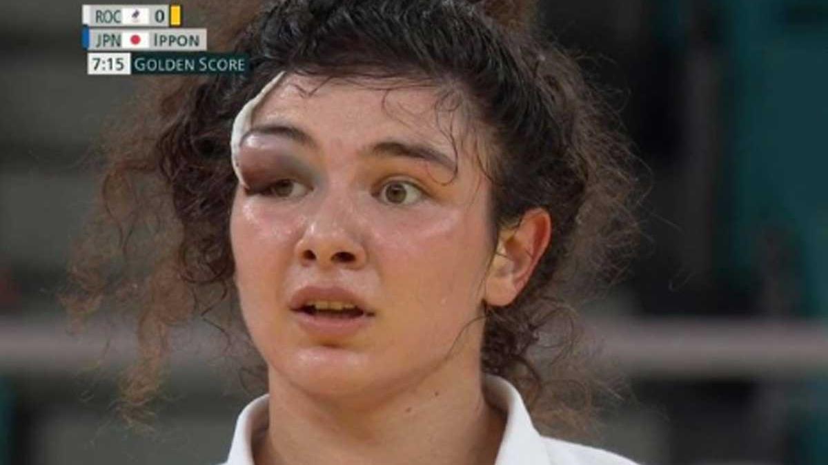 Madina Taimazova, durante su combate de semifinales.